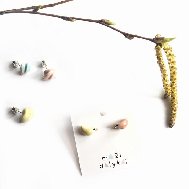 """Mini keramikos auskarai """"Paukšteliai 2"""""""
