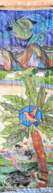 """Šilko tapyba """"Žaliuojančios ganyklos"""""""