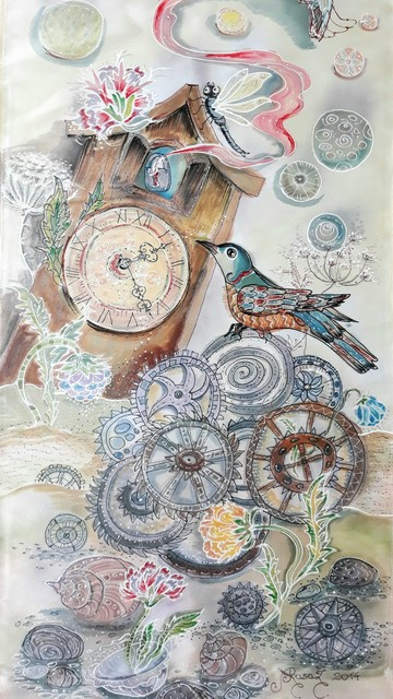 """Šilko tapyba """"Laikrodis su gegute"""""""